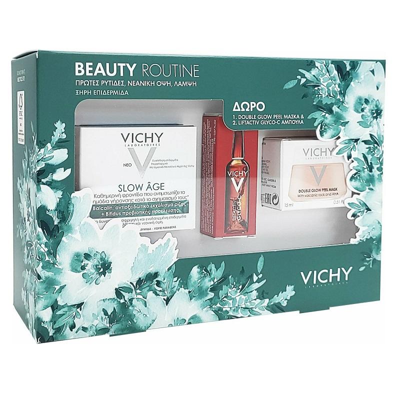 Vichy Beauty Routine Slow Age Cream Spf30 50ml, Liftactiv Glyco-c Night Peel 2ml & Mask Peel Double Eclat 15ml