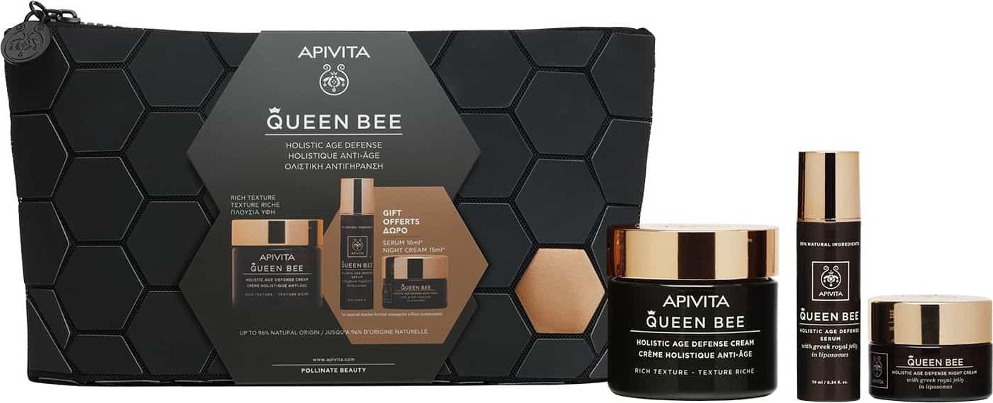 Apivita Promo Queen Bee Kρέμα Ημέρας Πλούσιας Υφής 50ml & ΔΩΡΟ Queen Bee Serum 10ml & ΔΩΡΟ Queen Bee Κρέμα Νύχτας 15ml & Δώρο Νεσεσέρ