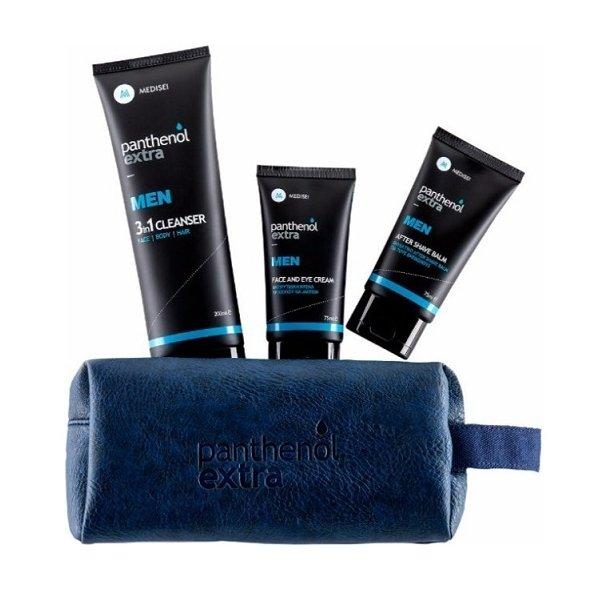 Medisei Panthenol Extra Men After Shave Balm 75ml + Face & Eye Cream Ανδρική Αντιρυτιδική Κρέμα 75ml + ΔΩΡΟ 3in1 Cleanser Ανδρικό Αφρόλουτρο - Σαμπουάν 200ml σε Μπλε Νεσεσέρ