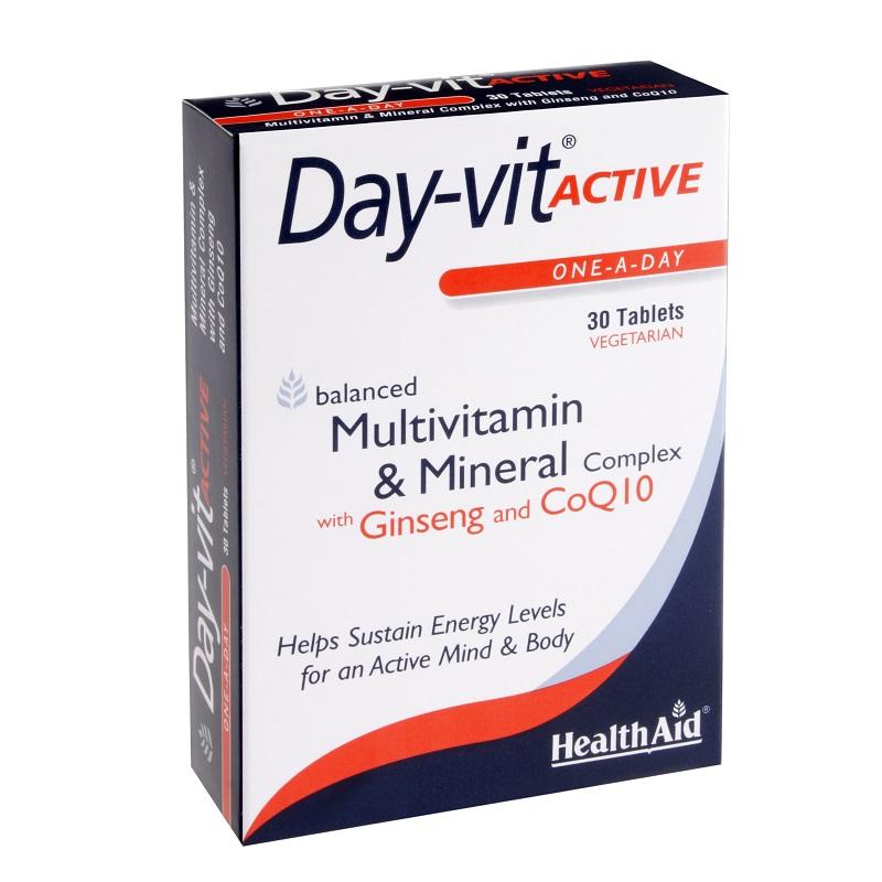 Health Aid Day-Vit Active Co Q10, Βιταμίνες και Μέταλλα με Συνένζυμο Q10 και Τζίνσενγκ 30 ταμπλέτες