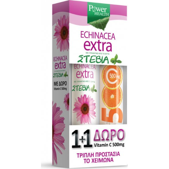 Power Health Echinacea Extra + Vitamin C 500mg, Δισκία Εχινάτσεας με Στέβια 24 αναβράζοντα δισκία + ΔΩΡΟ Βιταμίνη C 20 αναβράζοντα δισκία
