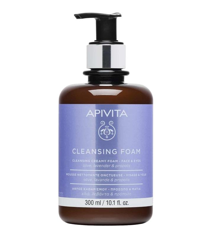 Apivita Κρεμώδης Αφρός Καθαρισμού για Πρόσωπο - Μάτια με Ελιά,Λεβάντα & Πρόπολη 300ml