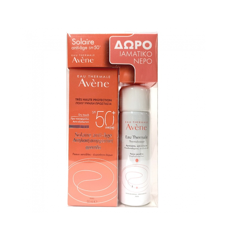 Avene Solaire Anti Age Dry Touch SPF50+ 50 ml & Ιαματικό Νερό Eau Thermale 50ml