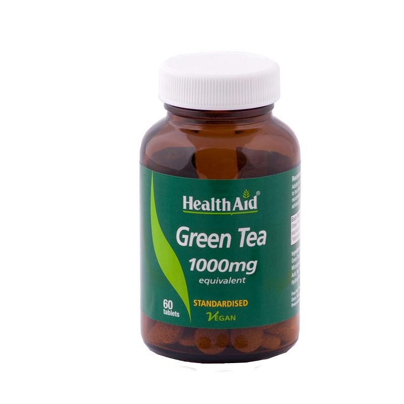 Health Aid Green Tea 1000mg, Πράσινο Τσάι με Αντιοξειδωτικά συστατικά για Αύξηση του Μεταβολισμού 60 Caps