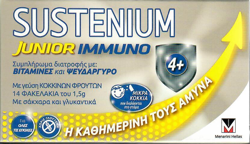 Menarini Sustenium Immuno Junior Παιδικό Συμπλήρωμα Διατροφής με Γεύση Κόκκινων Φρούτων 14 φακελάκια