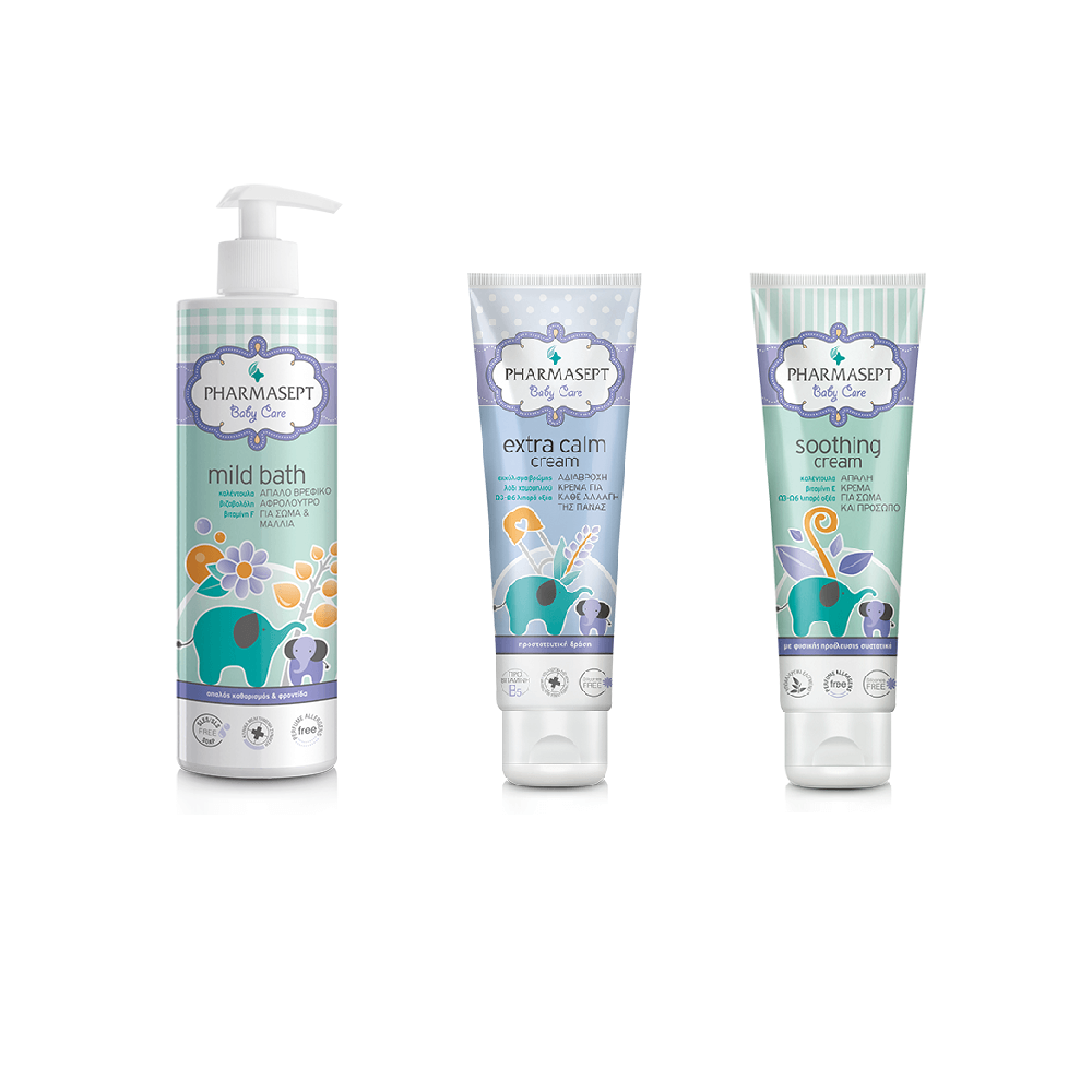 Pharmasept Gift Set Baby Mild Bath 500ml & Baby Extra Calm Cream 150ml & Baby Soothing Cream 150ml