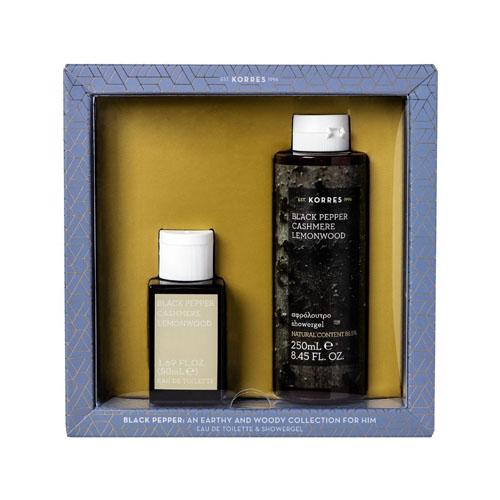 Korres Gift Set For Him Black Pepper, Cashmere & Lemonwood Eau de Toilette 50ml & Shower Gel 250ml