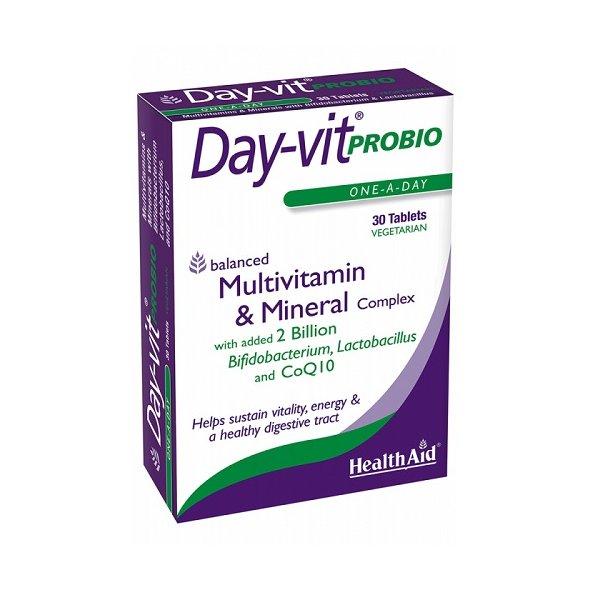 Health Aid Day-Vit Probio Probiotics CoQ10, Βιταμίνες και Μέταλλα με Προβιοτικά και Συνένζυμο Q10, 30 ταμπλέτες