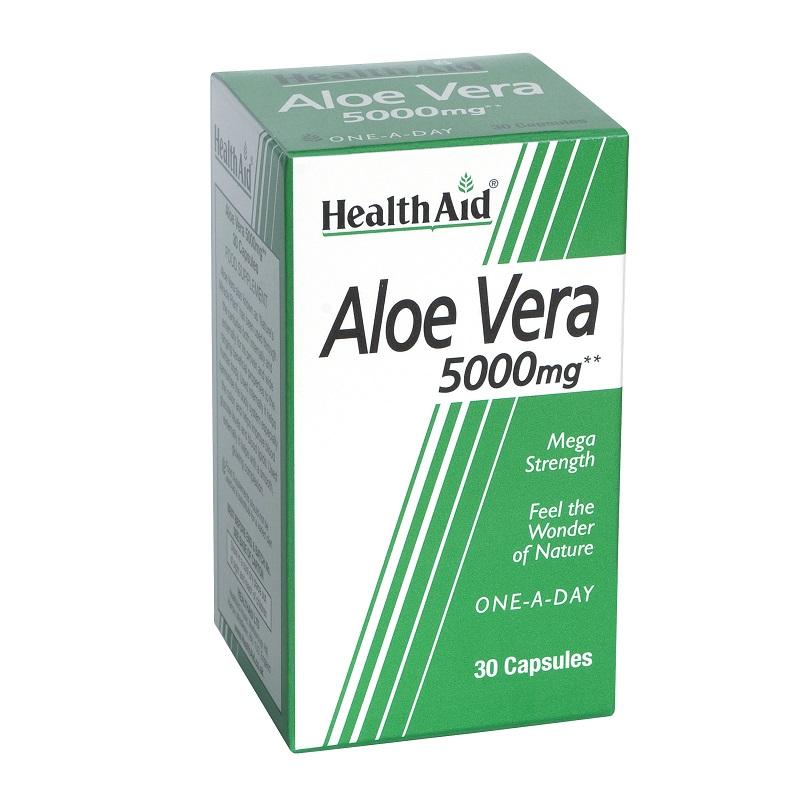 Health Aid Aloe Vera 5000mg, Αλόη Βέρα για Φυσική Αποτοξίνωση 30caps