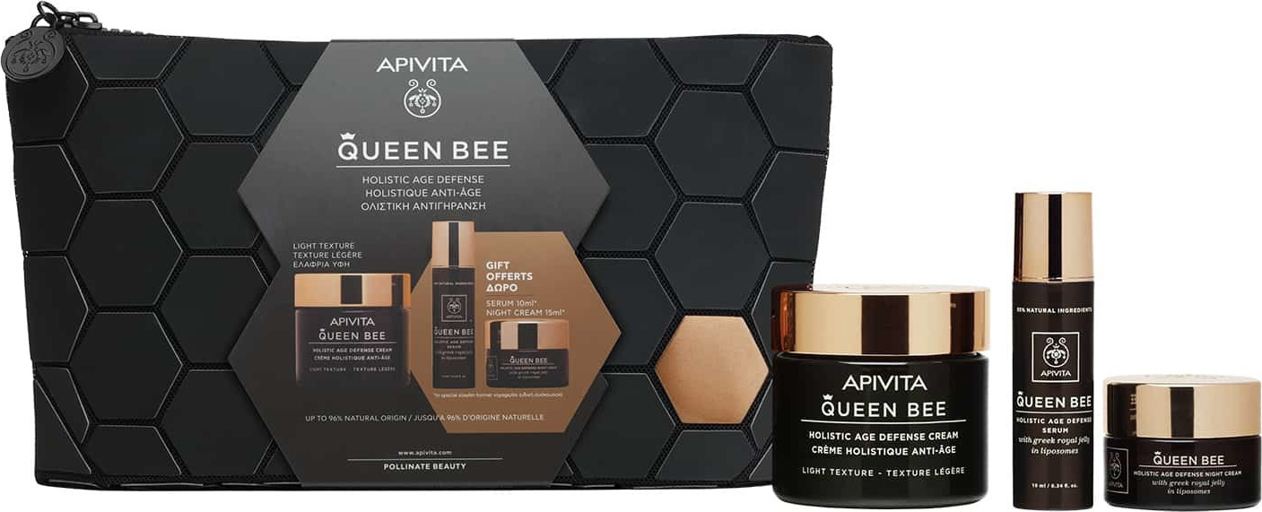 Apivita Promo Queen Bee Kρέμα Ημέρας Ελαφριάς Υφής 50ml & ΔΩΡΟ Queen Bee Serum 10ml & ΔΩΡΟ Queen Bee Κρέμα Νύχτας 15ml + Δώρο Νεσεσέρ