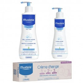Mustela Gift Set Bebe Cleansing Gel 500ml & Body Lotion 300ml & Barrier Cream 1-2-3 100ml