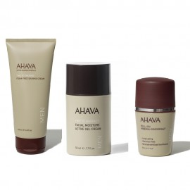 Ahava Gift Set for Men Shaving Cream 200ml & Moisture Gel Cream 50ml & Deodorant Roll-On 50ml