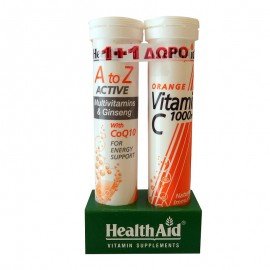 Health Aid A to Z Active Multivitamins & Ginseng with CoQ10 & 1000mg Πορτοκάλι - 20 + 20 Tabs ΔΩΡΟ