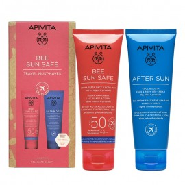 Apivita Bee Sun Safe Travel Size Hydra Fresh Face & Body Milk spf50 100ml+ After Sun Cool & Sooth Face & Body Gel-Cream 100ml
