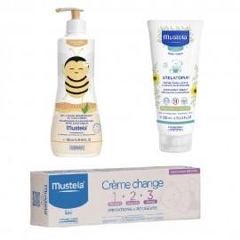 Mustela Gift Set Nourishing Cleansing Gel 500ml & Stelatopia Emollient Cream 200ml & Barrier Creme Change 1-2-3  100ml
