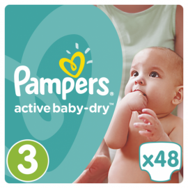Pampers Βρεφικές Πάνες Active Baby-Dry Νο3 (Midi) 5-9Kg 48τεμ