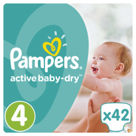 Pampers Βρεφικές Πάνες Active Baby-Dry Νο4 (Maxi) 8-14Kg 42τεμ