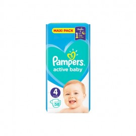 Pampers Βρεφικές Πάνες Active Baby Maxi No4 (8-16kg) 58τμχ