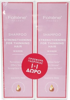 Foltene - Promo Shampoo Strengthening For Thinning Hair Women 200ml 1+1 Δώρο