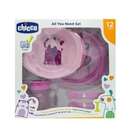 Chicco All You Need Set, Σετ Φαγητού από 12 μηνών σε Ροζ Χρώμα 5τμχ