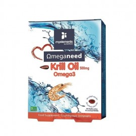 My Elements Ωmeganeed Krill Oil Omega3 500mg, Έλαιο Κριλ Πλούσιο σε Ωμέγα-3, 30 μαλακές κάψουλες